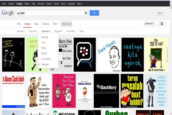 Gambar Animasi GIF di Google Images